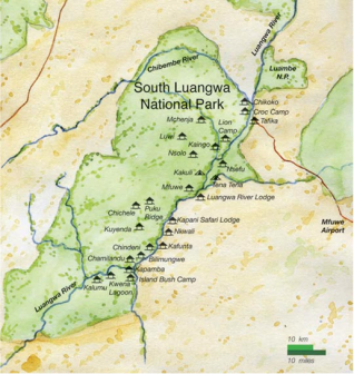 Mapa NP South Luangwa v Zambii